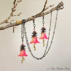 Feenblumen Set - Ohrringe und Halskette - Farben Gunmetal Hellgelb Neonpink