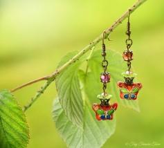 Geheimer Garten Ohrringe - Farben Bronze Grün Lila Altrosa