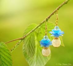 Geheimer Garten Ohrringe - Farben Gold Naturweiß Blau