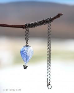 Heißluftballon Halskette - Gunmetal Blau Weiß Transparent