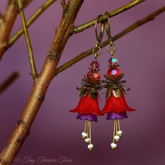 Feenblumen Ohrringe - Farben Bronze Dunkelrot Lila