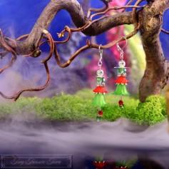 Feenblumen Ohrringe - Silber Grün Rot