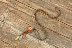 Magische Flöckchen Kette - Metallisch bunt und bronzefarben mit Böhmischen Glasperlen - Kleine Kugel