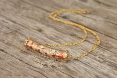 Magische Flöckchen Kette - Metallisch bunt und goldfarben - Gebogenes Röhrchen