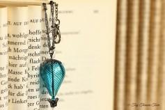 Heißluftballon Halskette - Rauchblau Gunmetal
