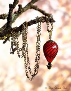 Heißluftballon Halskette - Bronze Rot Schwarz Transparent