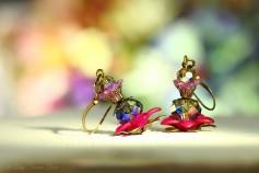 Geheimer Garten Ohrringe - Farben Bronze Pink Lila Blau