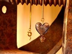 Herz Heißluftballon Halskette - Schwarz goldfarben