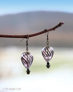 Heißluftballon Ohrringe - Bronze Schwarzlila Schwarz Transparent