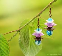 Geheimer Garten Ohrringe - Farben Kupfer Türkis Lila