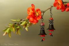 Feenblumen Ohrringe - Farben Gunmetal Schwarz Dunkelrot