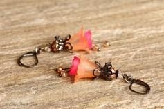 Feenblumen Ohrringe - Farben Helllachs Pink Gunmetal