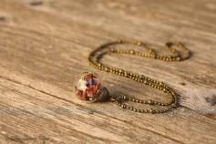 Magische Flöckchen Kette - Metallisch bunt und bronzefarben - Kleine Kugel