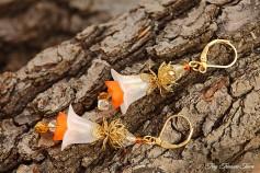 Feenblumen Ohrringe - Farben Messing Gold Weiß Orange