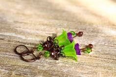 Feenblumen Ohrringe - Kupfer Grün Lila