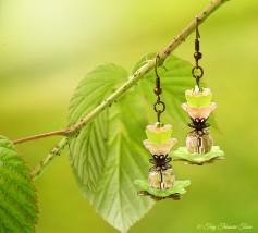 Geheimer Garten Ohrringe - Farben Bronze Grün Rosa