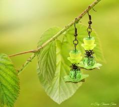 Geheimer Garten Ohrringe - Farben Bronze Grün Gelb