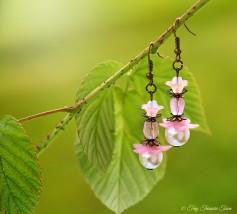 Geheimer Garten Ohrringe - Farben Bronze Rosa Weiß