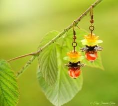 Geheimer Garten Ohrringe - Farben Kupfer Orange Grün