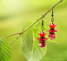 Geheimer Garten Ohrringe - Farben Bronze Dunkelrot
