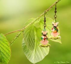 Geheimer Garten Ohrringe - Farben Bronze Rosa Grün