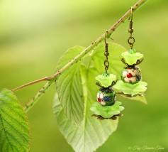 Geheimer Garten Ohrringe - Farben Bronze Grün