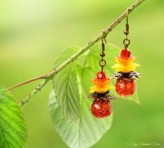 Geheimer Garten Ohrringe - Farben Kupfer Lachs Rot Orange Gelb