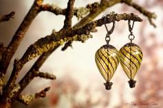 Heißluftballon Ohrringe - Gunmetal Schwarzlila Gelb Transparent