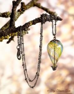 Heißluftballon Halskette - Gunmetal Weiß Schwarz Transparent