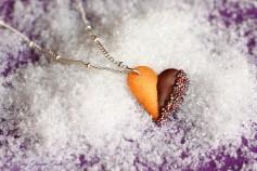 Handgemachte Keks Halskette - Herz Zartbitter