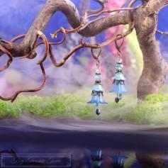 Feenblumen Ohrringe - Bronze Blau Hellblau