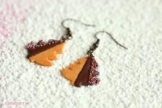 Handgemachte Keks Ohrringe - Tannenbäume zartbitter