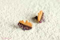 Handgemachte Keks Ohrringe - Schneemänner zartbitter