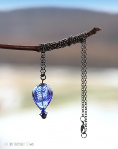 Heißluftballon Halskette - Gunmetal Blau Transparent
