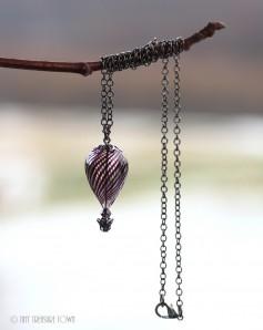 Heißluftballon Halskette - Gunmetal Schwarzlila Transparent