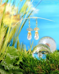Feen Tautropfen Ohrringe - Gold Transparent