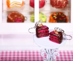 Fimo Torten Ohrringe - Grapefruit Zartbitterschokolade