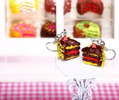 Fimo Torten Ohrringe - Erdbeere Zitrone Schokolade