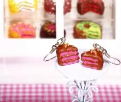 Fimo Torten Ohrringe - Grapefruit Schokolade