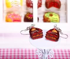 Fimo Torten Ohrringe - Erdbeere Orange Zartbitterschokolade