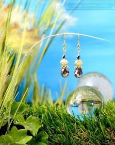 Feen Tautropfen Ohrringe - Gold Messing Anthrazit Transparent