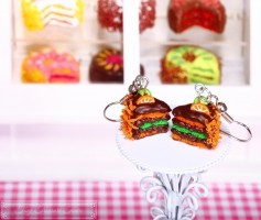 Fimo Torten Ohrringe - Orange Limette Zartbitterschokolade