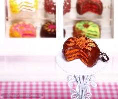 Fimo Torten Kette - Orange Schokolade