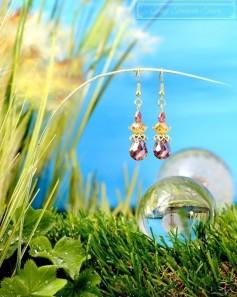 Feen Tautropfen Ohrringe - Gold Messing Lila Grau Honiggelb