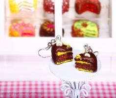 Fimo Torten Ohrringe - Banane Zartbitterschokolade