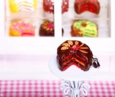 Fimo Torten Kette - Erdbeere Orange Schokolade