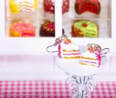 Fimo Torten Ohrringe - Grapefruit Sahnecreme