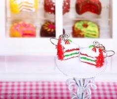 Fimo Torten Ohrringe - Erdbeere Limette Sahnecreme