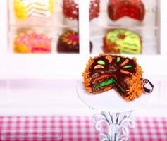 Fimo Torten Kette - Orange Limette Zartbitterschokolade