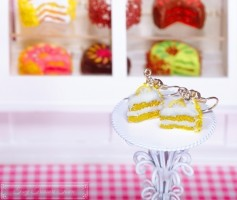 Fimo Torten Ohrringe - Zitrone Sahnecreme